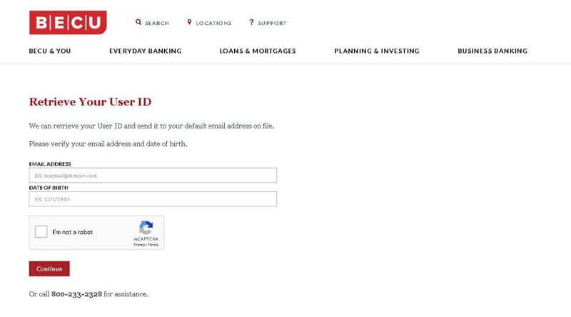 becu retrieve your user id