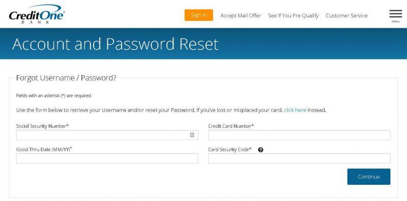 credit one bank forgot username password