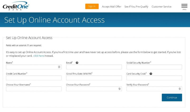 credit one bank set up online account access