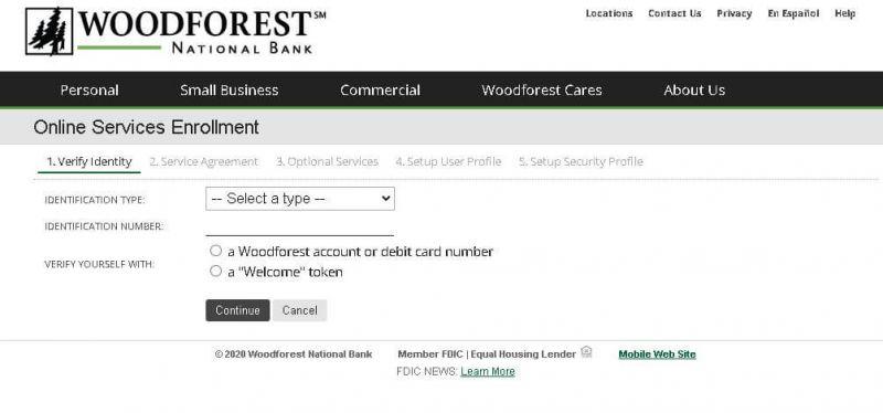 woodforest national bank enrollment steps