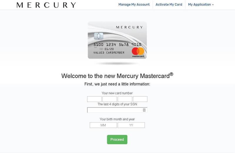 mercury credit card activation