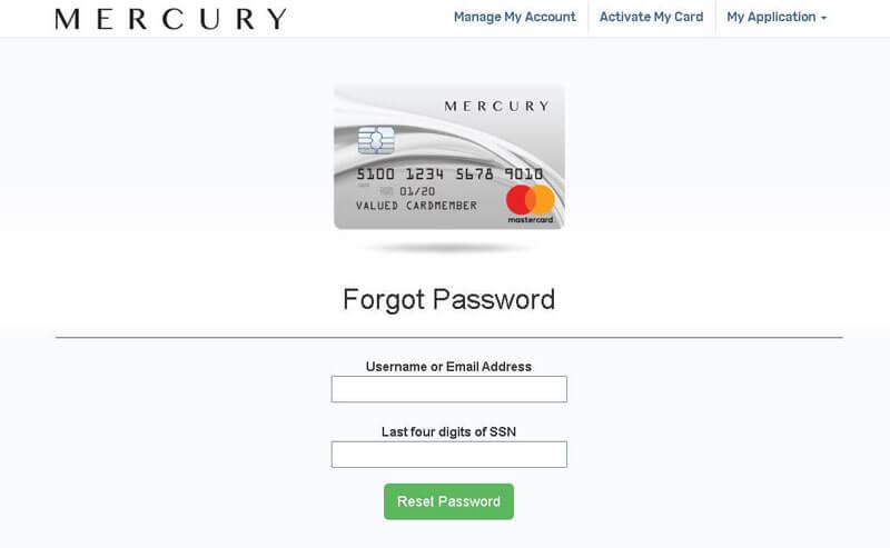 mercury credit card forget password