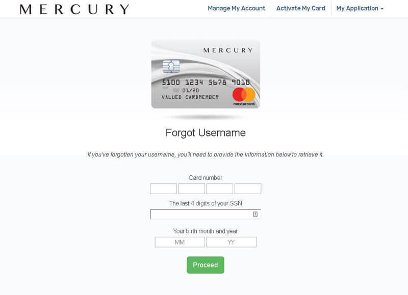 mercury credit card forgot username