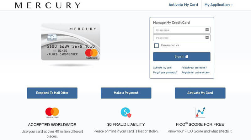 mercury credit card login