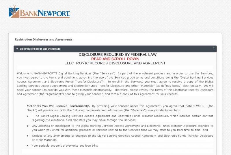 banknewport enrollment process