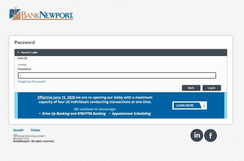 banknewport login steps