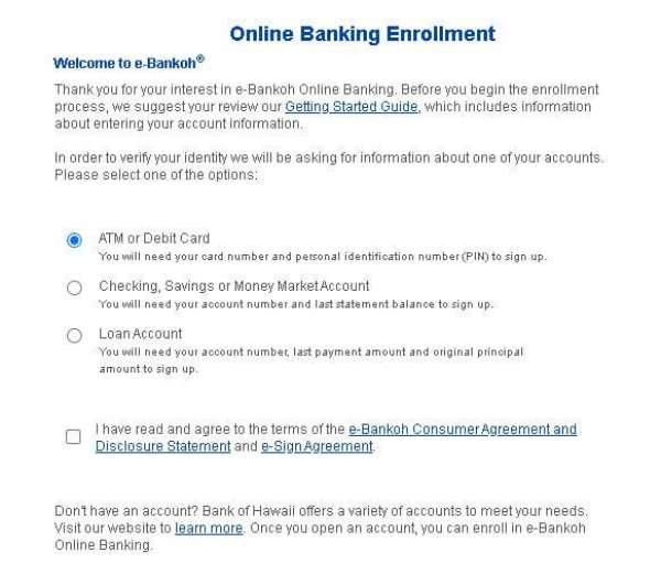 Bank Of Hawaii online banking enrollment