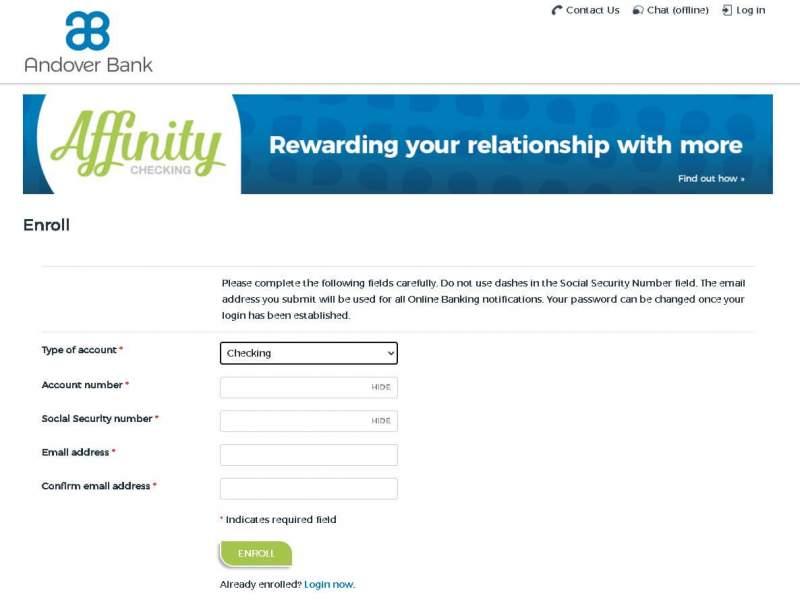andover bank online banking enrollment