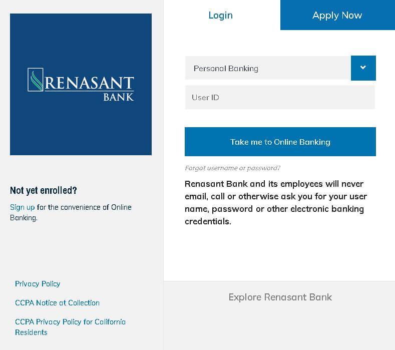 renasant bank login