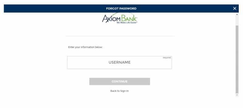 Axiom Bank forgot password