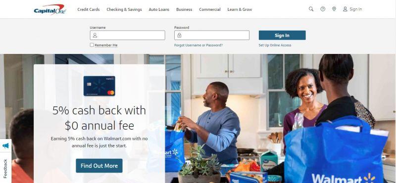 CapitalOne Bank homepage
