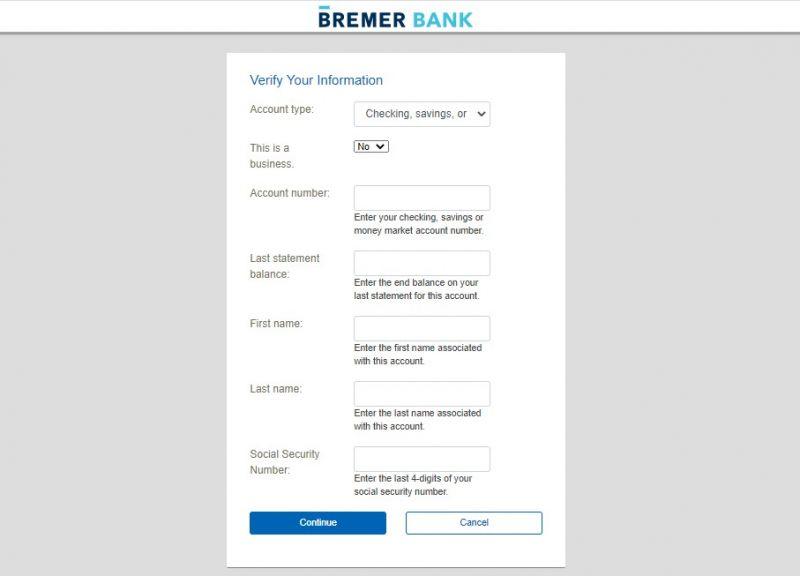Bremer Bank Forgot UserID