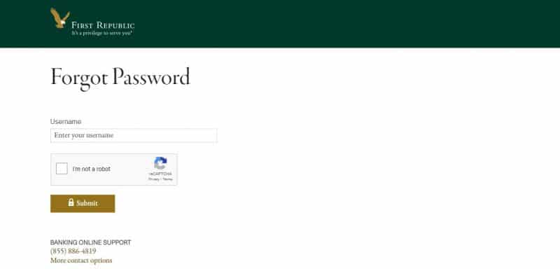 First Republic bank ForgotPassword