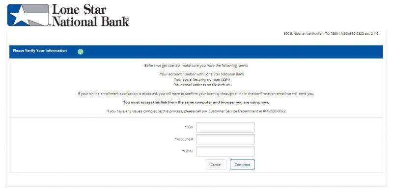 Lone Star National Bank Enrollment