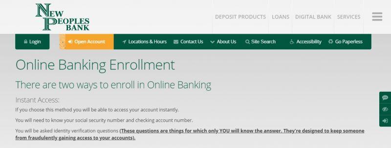 New Peoples Bank Enrollment