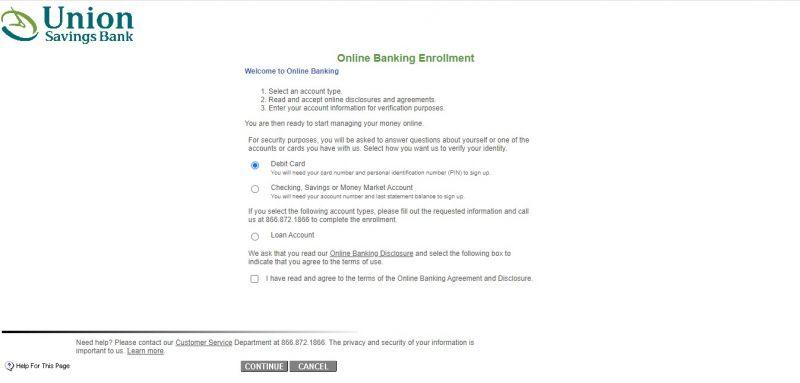Union Savings Bank Enrollment