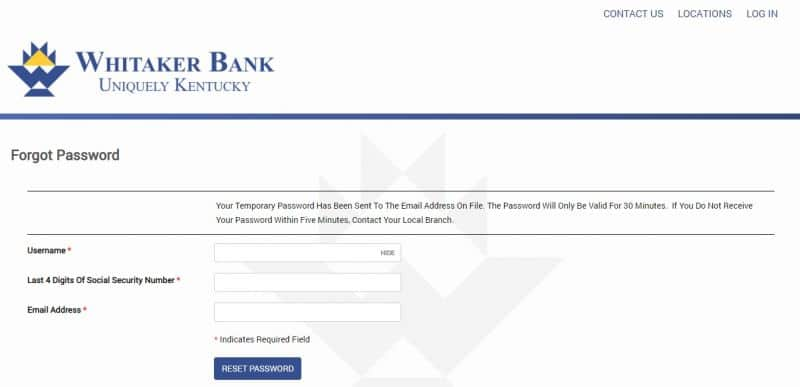 Whitaker Bank ForgotPassword