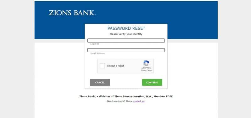 Zions Bank ForgotPassword
