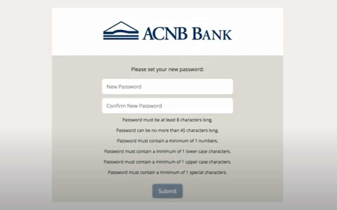 ACNB Bank Create new password