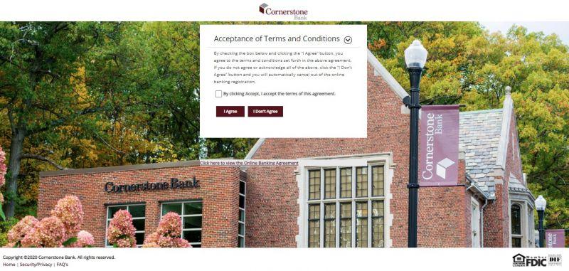 Cornerstone Bank Enrollment