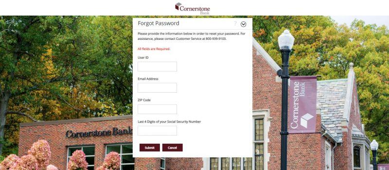 Cornerstone bank Forgot Password