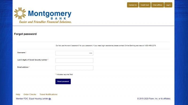 Montgomery Bank ForgotPassword