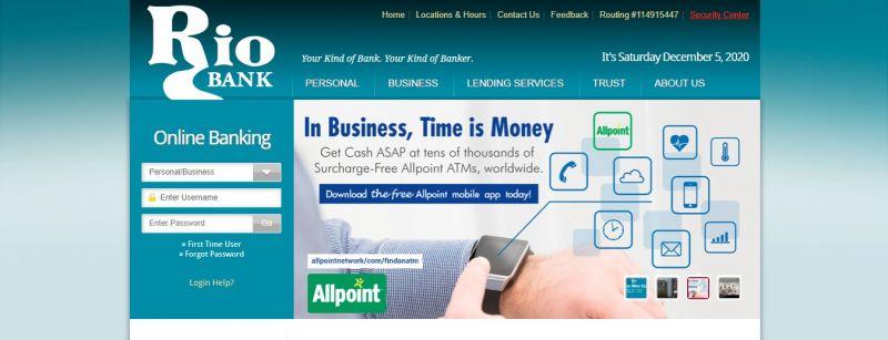 Rio Bank Homepage