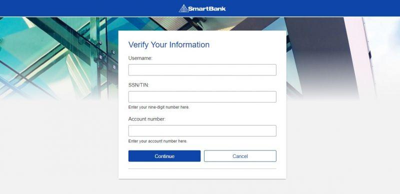Smart Bank Forgot password