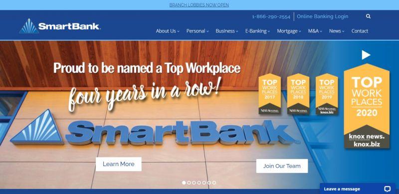 Smart Bank homepage