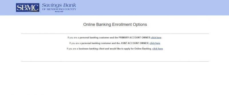 Savings Bank of Mendocino County Enrollment