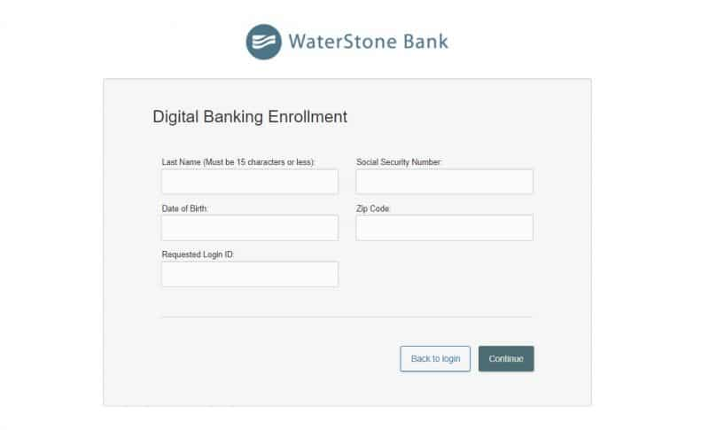 Waterstone bank Enrollment