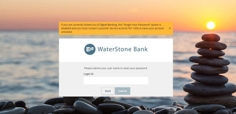 Waterstone bank ForogtPassword