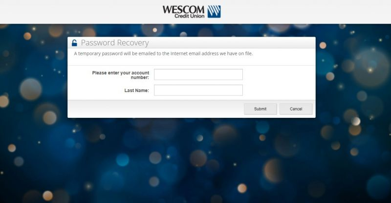 WesComCredit Union ForgotPassword