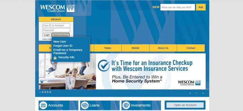 WesComCredit Union Help_Options