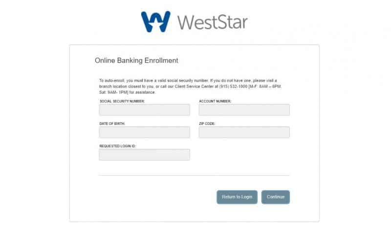 WestStar Bank Enrollment